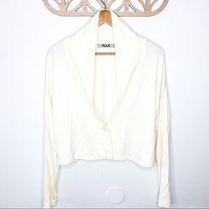 Flax Cream Off White Single Button Cardigan